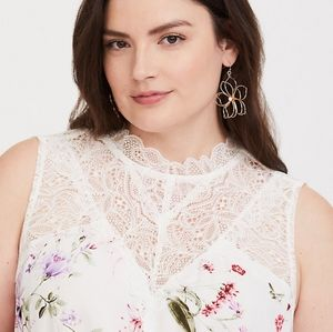 Torrid Floral Lace Inset Crepe Sleeveless Top
